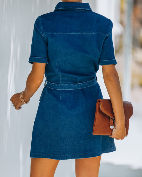 Last Call Cotton Pocketed Utility Dress - Denim