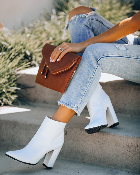 City Slang Faux Leather Heeled Bootie - White