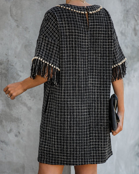 Marleen Pocketed Pom Fringe Tweed Dress  - FINAL SALE