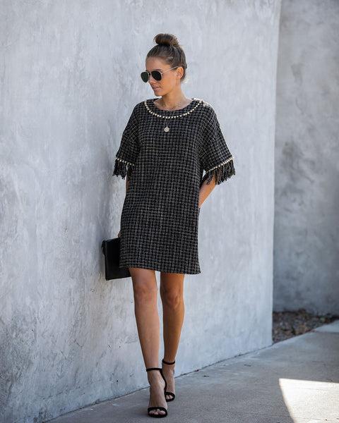 Marleen Pocketed Pom Fringe Tweed Dress