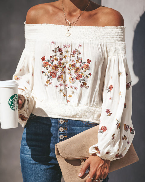 Fairytale Off The Shoulder Embroidered Top