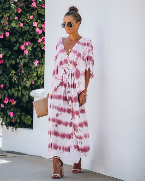 Estancia Adjustable Tie Dye Kimono Maxi Dress