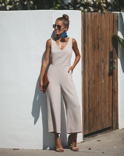 Gisela Pocketed Jumpsuit - Taupe