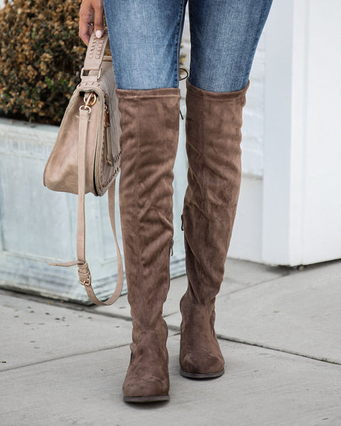 Olympia Faux Suede Over The Knee Boot - Mocha  - FINAL SALE
