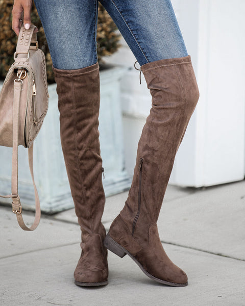 Olympia Faux Suede Over The Knee Boot - Mocha