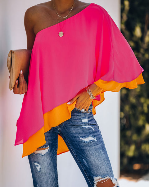 Cosmos Layered One Shoulder Blouse