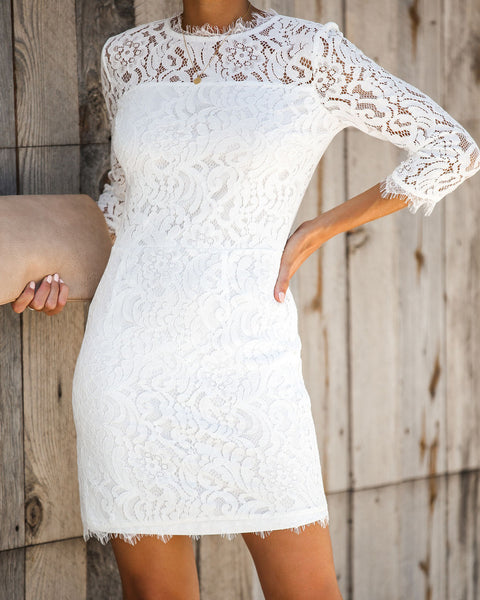Embark In Style Lace Dress - Ivory - FINAL SALE
