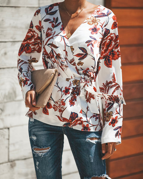 Overwhelming Orchids Wrap Blouse
