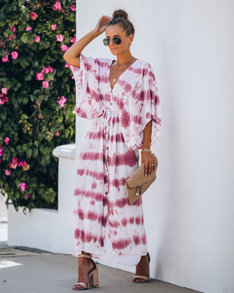 PREORDER - Estancia Adjustable Tie Dye Kimono Maxi Dress