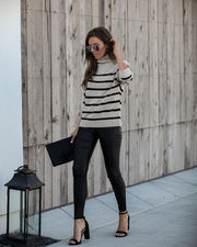 Shelton Striped Mock Neck Sweater