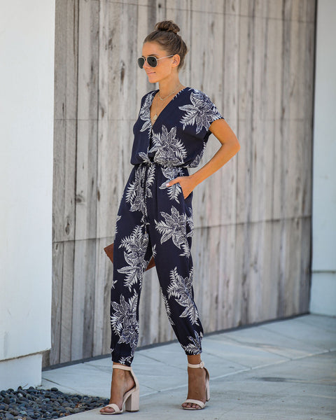 In A Snap Floral Pocketed Jumpsuit - FINAL SALE