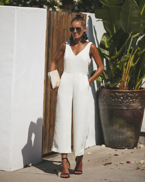 Gisela Pocketed Jumpsuit - Cream