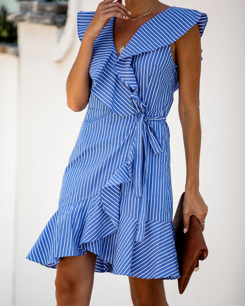 Park Picnic Pocketed Striped Ruffle Wrap Dress - FINAL SALE