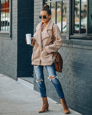 City Scene Pocketed Teddy Coat - Oatmeal