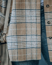 Hanan Soft Plaid Button Down Shacket - Taupe view 4