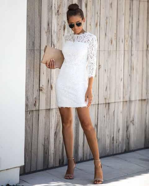Embark In Style Lace Dress - Ivory