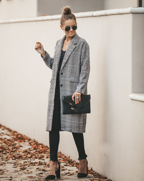 Hope Pocketed Plaid Trench Coat - FINAL SALE