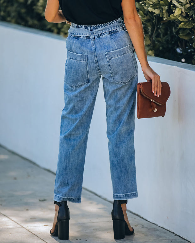 Lenny Pocketed High Rise Denim Pants