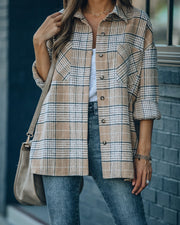 Hanan Soft Plaid Button Down Shacket - Taupe view 5