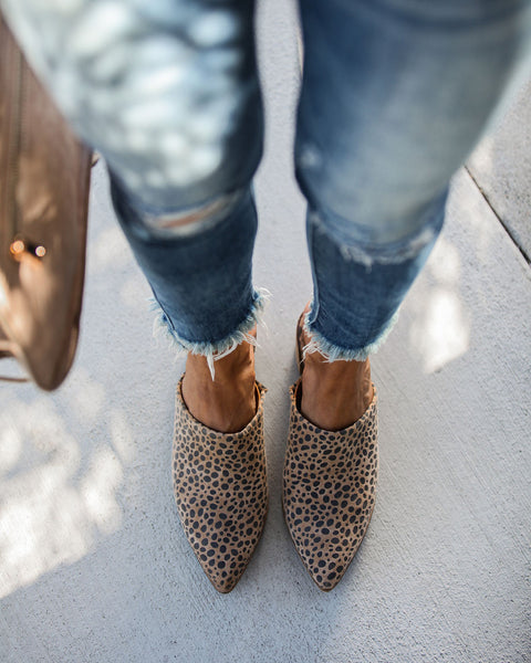 Giovanni Leopard Heeled Mule