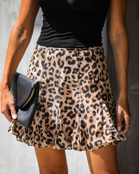 Wild + Out Leopard Ruffle Mini Skirt