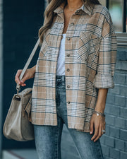 Hanan Soft Plaid Button Down Shacket - Taupe view 3