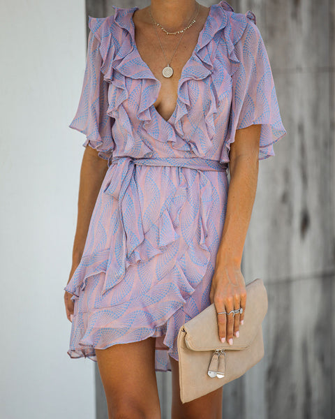 You Can Obsess Printed Ruffle Dress