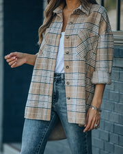 Hanan Soft Plaid Button Down Shacket - Taupe view 9