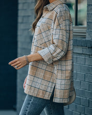 Hanan Soft Plaid Button Down Shacket - Taupe view 7