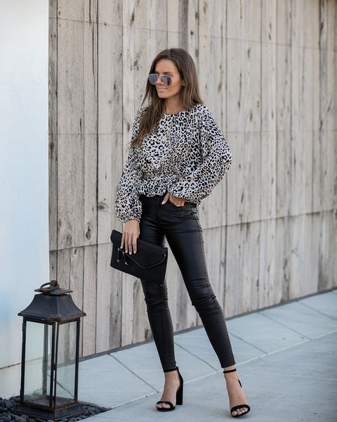 Down The Boulevard Leopard Peplum Blouse - FINAL SALE