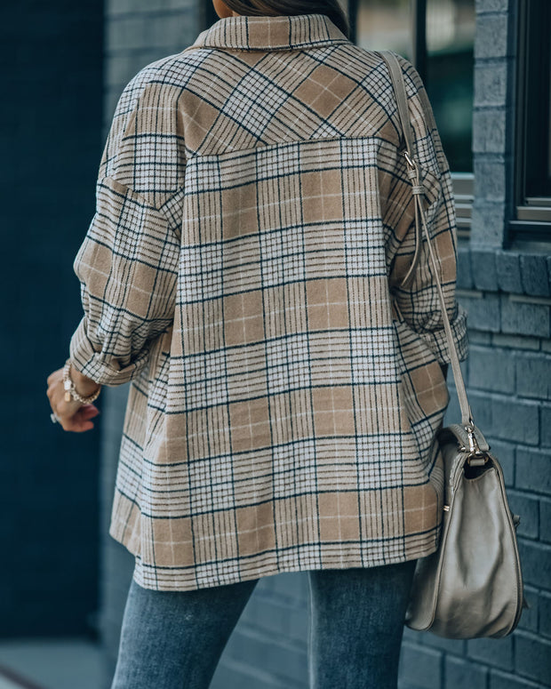 Hanan Soft Plaid Button Down Shacket - Taupe view 2