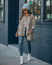 Hanan Soft Plaid Button Down Shacket - Taupe view 8