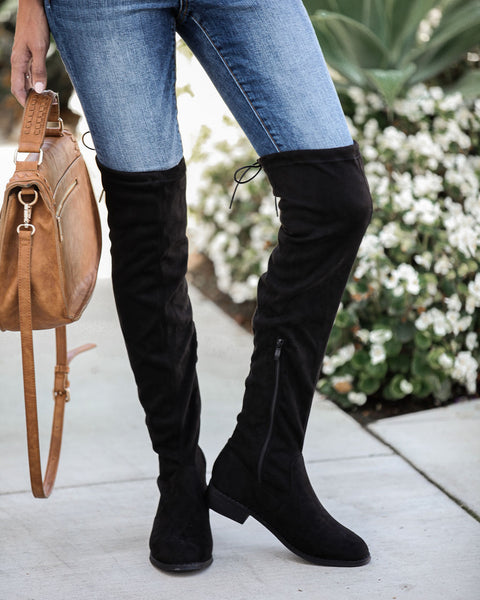 Olympia Faux Suede Over The Knee Boot - Black