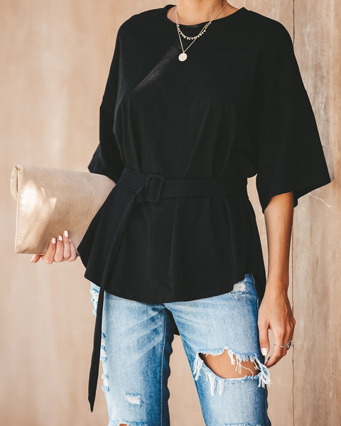 Hidden Shadow Cotton Belted Top