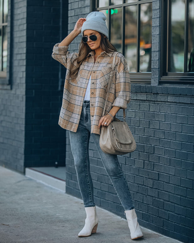 Hanan Soft Plaid Button Down Shacket - Taupe view 1