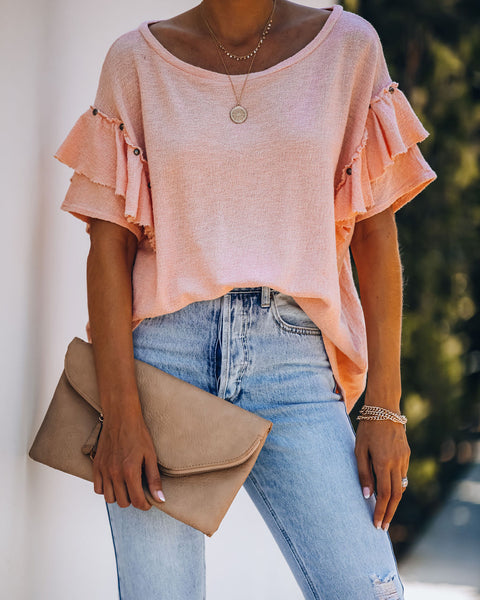 Monet Cotton Studded Ruffle Top - Apricot