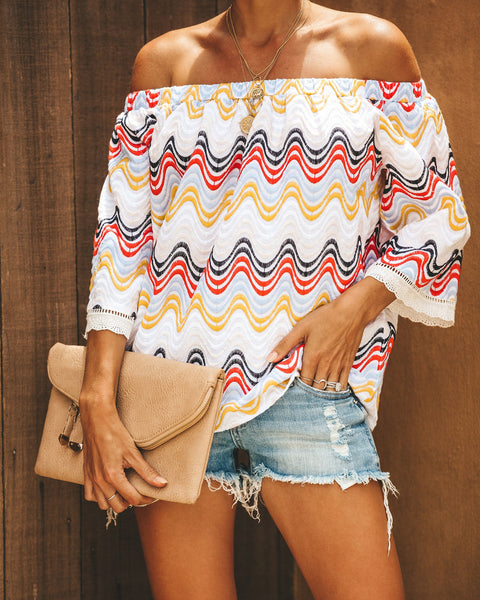 Smile + Wave Cotton Embroidered Off The Shoulder Top - FINAL SALE