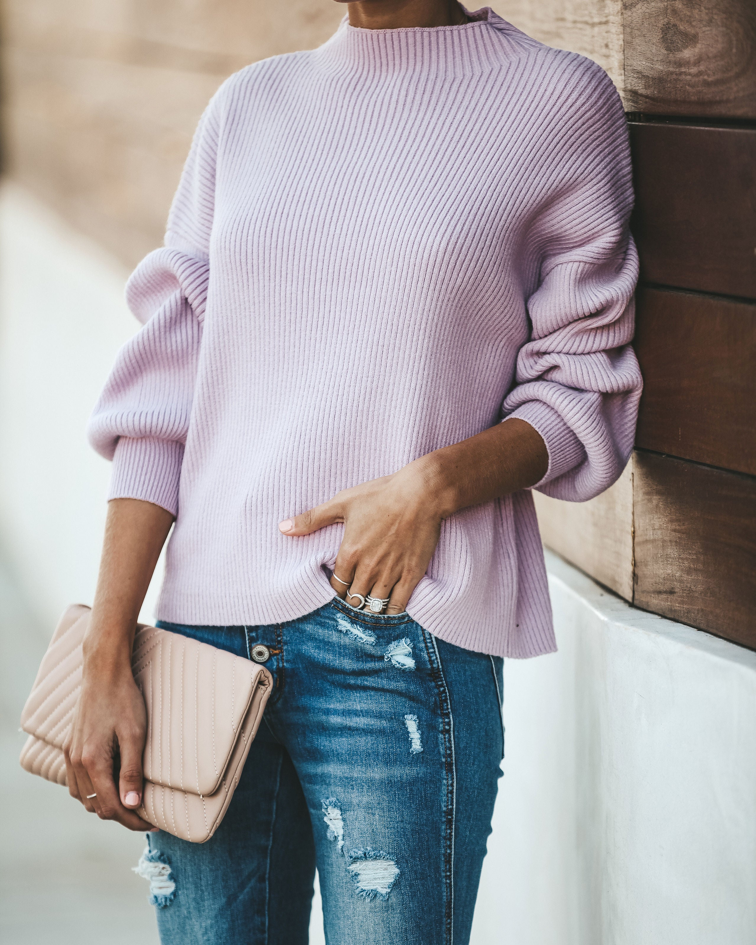 fae77df59 Lovely In Lavender Mock Neck Ribbed Sweater - FINAL SALE – VICI
