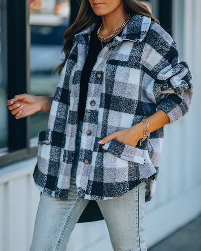 Carolina Pocketed Plaid Teddy Jacket