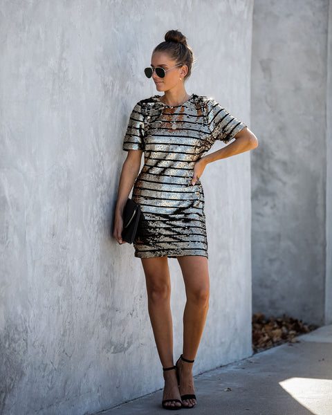 Queen Bee Striped Sequin Bodycon Dress - FINAL SALE