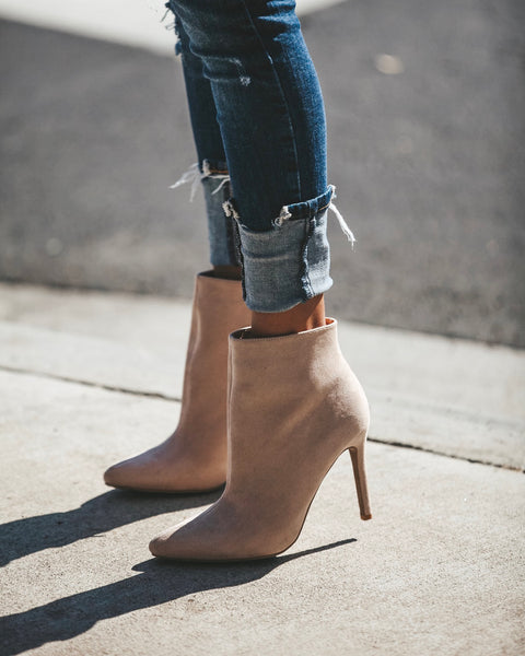 Chicago Pointed Faux Suede Bootie - Nude