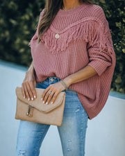 Ian Fringe Knit Sweater - Mauve