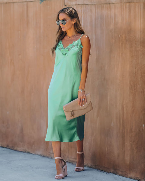 Green Ivy Satin Crochet Lace Midi Dress
