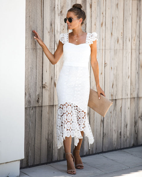 Off The Market Crochet Midi Dress