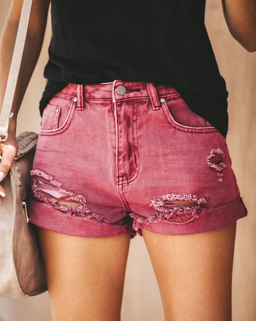 fb991fb501 Stagecoach Distressed Cuffed Denim Shorts - Burgundy - FINAL SALE – VICI