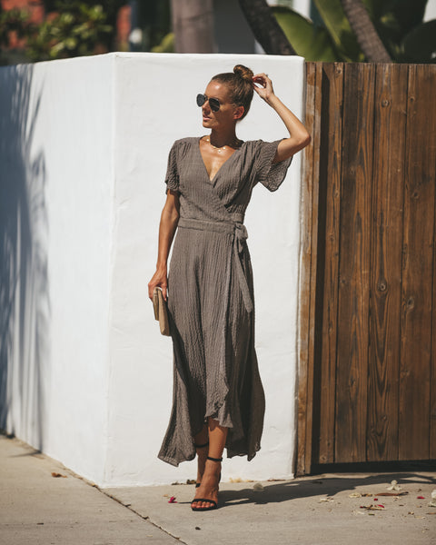 Blaire Plaid Wrap Maxi Dress - FINAL SALE