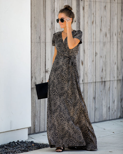 Tawny Leopard Wrap Maxi Dress