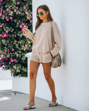 Janet Cotton + Linen Blend Pocketed Knit Shorts - Sand