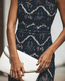 Caviar Lace Trumpet Dress - Navy