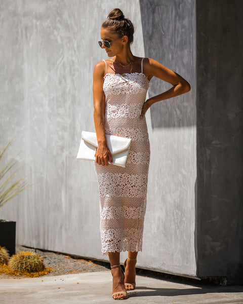 Ultimate Sophistication Floral Lace Midi Dress - Pink - FINAL SALE